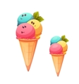 Ice cream cone with flavour collection vector image