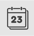 icon calendar day number 23 line flat vector image vector image