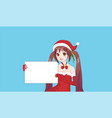 japanese asian woman holding white big sign board vector image vector image