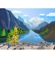 Landscape summer mountains range print vector image vector image