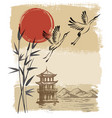 landscape with sun and storks vector image vector image