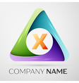 Letter X logo symbol in the colorful triangle vector image