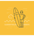 Man on the beach with surf board standing vector image