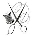 needle with thread and scissors for sewing vector image vector image