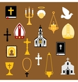 Religious christian and catholic flat icons vector image