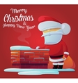 Santa claus near chimney on roof at 2017 new year vector image vector image