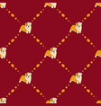 seamless pattern with puppy bulldog on red vector image