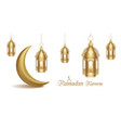 set arabic golden lamps with light with crescent vector image vector image