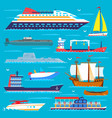ship cruiser boat sea transport symbol vessel vector image vector image