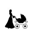 silhouette mother pushing bastroller vector image vector image