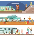 Smiling People Boarding Different Transport Metro vector image vector image