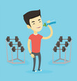 sportive man drinking water vector image vector image