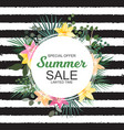 summer sale banner with palm and other leaves an vector image vector image