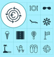 travel icons set with sunglasses rudder seaside vector image