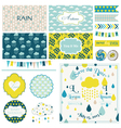 Vintage Rain Sky Party Set vector image vector image