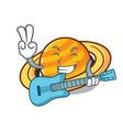 with guitar planet saturnus mascot cartoon vector image vector image