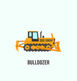 yellow bulldozer icon in flat style construction vector image