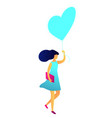 young happy woman walking with balloon in the vector image