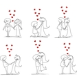 Big set groom and bride with flying hearts vector image