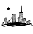 black and white silhouette of city simple drawing vector image