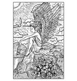 angel engraved fantasy vector image vector image