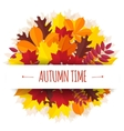 bouquet from autumn leaves with a paper tape vector image