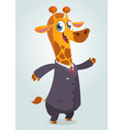 cartoon brown giraffe dressed up in office suit vector image