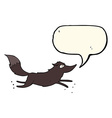 cartoon wolf running with speech bubble vector image vector image