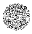 circle shaped peoples characters vector image vector image