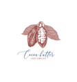 cocoa butter logo with hand drawn cocoa beans vector image