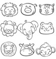 collection of animal head doodle set vector image vector image