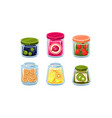 collection of glass jars with ingredient fresh vector image