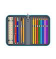 colorful pencil box icon realistic style vector image