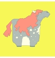 Flat hand drawn icon of a cute horse vector image vector image