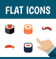 flat icon sushi set of gourmet japanese food vector image vector image