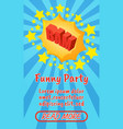 funny party concept banner comics isometric style vector image