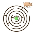 Game labyrinth find a way pig vector image vector image