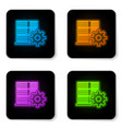 glowing neon server setting icon isolated on vector image vector image