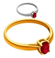 Gold and silver ring with red ruby jewelry vector image