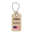 hang tag made in malaysia with flag icon isolated vector image