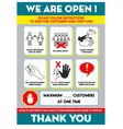 health and safety protocols or best practices vector image vector image