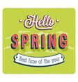 hello spring typographic design vector image vector image