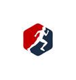 hexagon run logo icon design vector image vector image