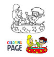 kids take a bath cartoon coloring page vector image vector image