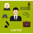 Lawyer and justice flat symbols or icons vector image