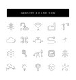 line icons set industry 40 pack vector image vector image