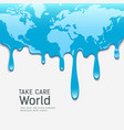 melting world map concept global warming vector image vector image