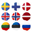 nine watercolor european flags north and east vector image