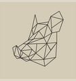 origami polygonal line style head of boar vector image