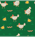 pattern chickens walking on green grass and vector image vector image